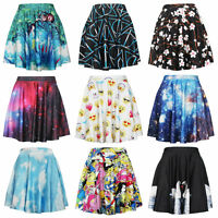 New Women Girls Print Stretchy High Waist Flared Pleated Casual Mini Skirt Dress