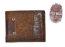Used Wash Portafoglio Uomo Ragazzo ROCK In Pelle Porta Monete Carte di Credito