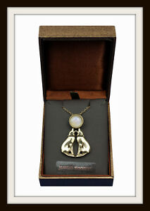 HOWLING WOLVES & MOON PENDANT ~ BRONZE WOLF & MOONSTONE FROM ST. JUSTIN FREE P&P