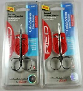 Kiss Red Professional Cuticle Scissors W/ Sharpener Salon Quality Lot of 2