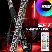 5ft LED Light Antenna Whip Light Flagpole w/Flag Remote For UTV RZR ATV Polaris
