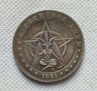 Satan Hobo Nickel Coin 1881-CC-Morgan-Dollar-Pentagram-Baphomet-COIN