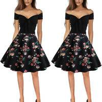 Women Retro 50s Rockabilly Pinup Floral Swing Dress Evening Cocktail Party Black