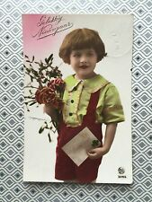 Cute Child Girl w/ flowers letter Deco Fashion Original Vintage Postcard