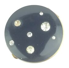 Vintage Black Pave Rhinestone Hinged Blush Compact Inner Pop-Up Dust Cover Lid