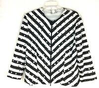 Vtg Joseph Ribkoff retro striped sequins zip Up Blazer Jacket Size 14
