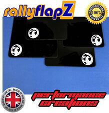 rallyflapZ VAUXHALL CORSA D VXR (06-14) Mud Flaps Kit Black 4mm PVC Badge White