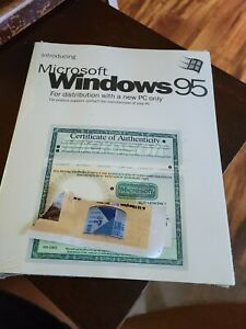Microsoft windows 95 instruction booklet with certificate of Authenticity
