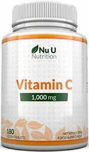Vitamin C 1000mg | 180 Tablets (6 Month's Supply) | Ascorbic Acid U Nutrition