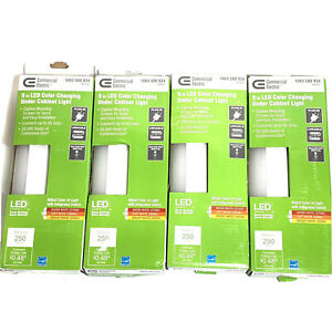 "Lot Of 4 Commercial Electric 9"" LED Color Changing Under Cabinet Light Adjust."