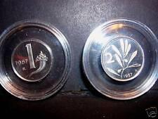1 Lira  + 2  Lire  1987  Proof Fondo Specchio