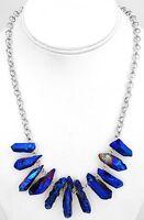 Mystic Dark Blue Purple Quartz Necklace with Silver Chain
