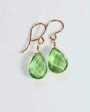 Greenwood Designs Faceted Green Quartz 14k gf Gold Hook Earrings