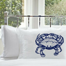 (1) One Navy Blue Crab pillowcase sailor nautical decor home pillow