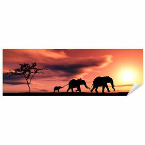 Postereck 0201 Poster Leinwand Panorama, Elefanten Familie Natur Afrika