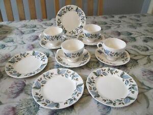 Beautiful 12 Piece Vintage 1950's Ceramic Tea Set Blue Brown Green Leaves