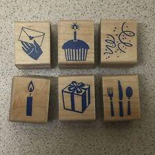 Birthday Rubber Stamp Set - 6 Pack - Present, Cake, Candle, Invite Hero Arts USA