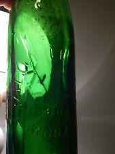 (Vtg.) Green Glass Bottle w/ Porcelain Cap [1888] Millville Bottle Works (Ltd.)