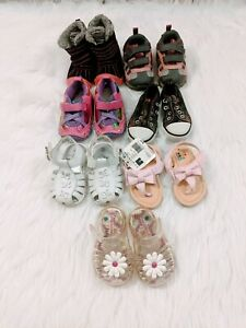 Lot Of 7 Baby Girl Shoes Infant Size 3