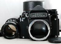 ASAHI PENTAX 67 6x7 TTL Finder SMC Takumar 200mm F1.4 w/ Lens Case from Japan