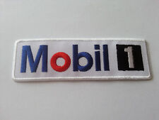 MOTOR RACING RALLY SPORT FUELS OILS SEW / IRON ON PATCH:- MOBIL (b) WHITE STRIPE