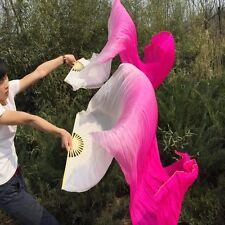 1 pair 100% silk veil belly dance fan 1.8m white+pink+rose