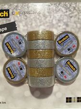 10 Scotch Expressions 3M Glitter Tape 5 Gold & 5 Silver - Ideal for Crafts