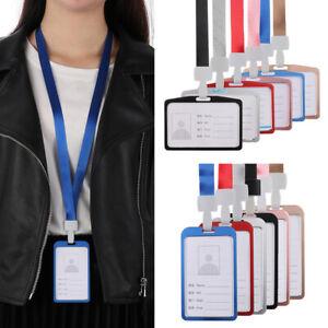 1pcs Aluminum Cover Work Card Holder ID Badge Neck Strap Lanyard Identity