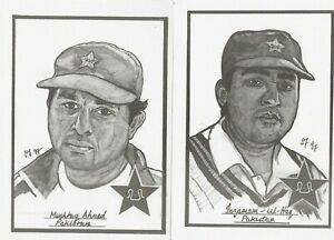2 cricket post cards Pakistan Inzamam ul Haq Sussex Mushtaq Ahmed