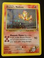 Blaine's Moltres Holo 1/132 Pokemon Card Gym Heroes- see pics and description