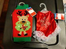 Christmas Dog Sweater Dog Dress Lot Xs New Nwt