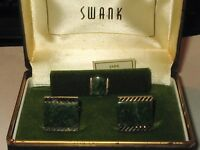 Vintage 1960s 70s SWANK Goldtone & Genuine Jade CUFFLINKS & TIE TAC in Orig Box