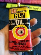 Vintage triple action gun oil tin can G96 brand complete gunsmith grade 1/2 full