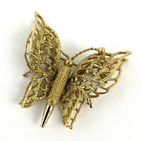 Vintage MONET Butterfly Filigree Pin Brooch Designer Spring Gold Tone Signed