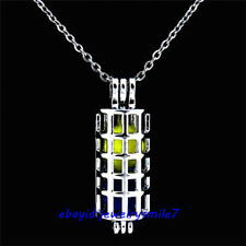 -K193 Silver Tube Cylinder Bead Pearl Cage Pendant - Locket Necklace