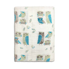 "1 Cotton Muslin Baby Swaddle Blanket Wrap 120x120cm 47"" x 47"" Owl"