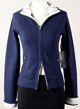 NWT Abercrombie & Fitch Double Full Zip Sweater w Pockets Dark Blue & Ivory S M