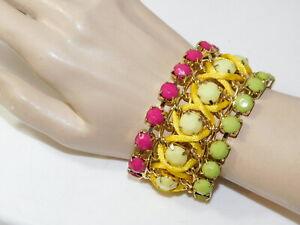 Bold Pink Green Yellow Rhinestone Wide Gold Chain Bracelet extndr K1