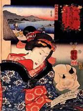 Pintura retrato Utagawa Kuniyoshi Mujer Geisha Japón Shore Art Print CC912