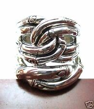 Retired NEW John Hardy Wide Twist Ring ~Planted 7 Bamboo Sterling Silver Sz 6