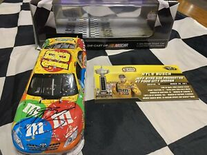 2011 Kyle Busch Autographed #18 M&M's Bristol Raced Win With Display Case 1/24