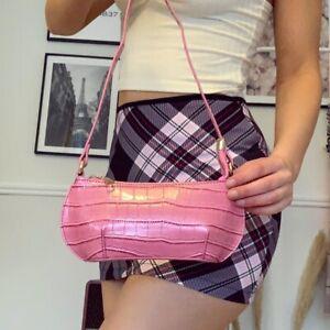 Pink Croc PU Faux Leather Mini y2k 90s Shoulder Bag