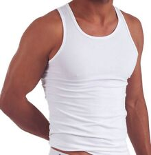 NEW MEN PLAIN WHITE VEST MENS 100% COTTON tANK TOP S-XXL UK LOT