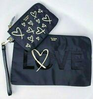 Victoria's Secret Black Gold Heart Love Sequin Black Makeup Bag Clutch Set NWT