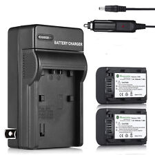 Two Batteries + Battery Charger NP-FH50 For Sony Alpha A390 A380 A330 A290 A230