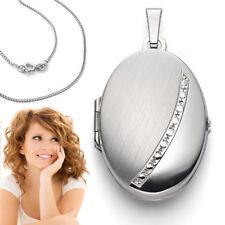 XL 4 Fotos Bilder Foto Medaillon Amulett Anhänger oval mit Kette Echt Silber 925