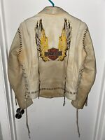 Vintage Harley Davidson Ladies' Beige Leather Fringe Jacket