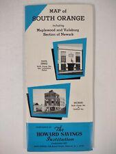 SOUTH ORANGE NJ map 1960s Vintage Local History BANKS Essex County