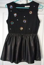 Girls Black Rhinestone Dress with Slip 95% cotton No'7 Collection size 12?