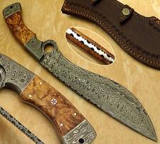 SUPERB HAND MADE DAMASCUS STEEL HUNTING KNIFE / KUKRI BOWIE KNIFE / FINGER KNIFE